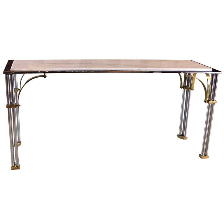 Chrome, Brass and Marble Console Table