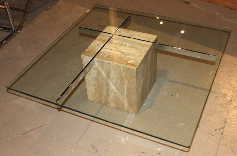 Beautiful Italian Marble block shape with chrome structural beams.