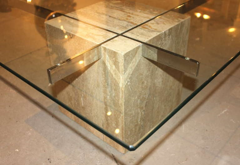 20th Century Artedi Italian Marble & Glass Coffee Table For Sale