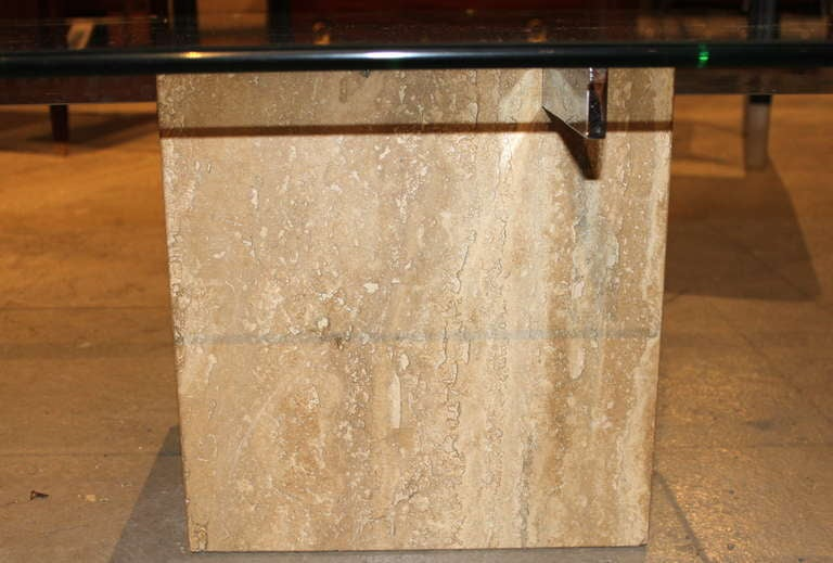Artedi Italian Marble & Glass Coffee Table For Sale 1