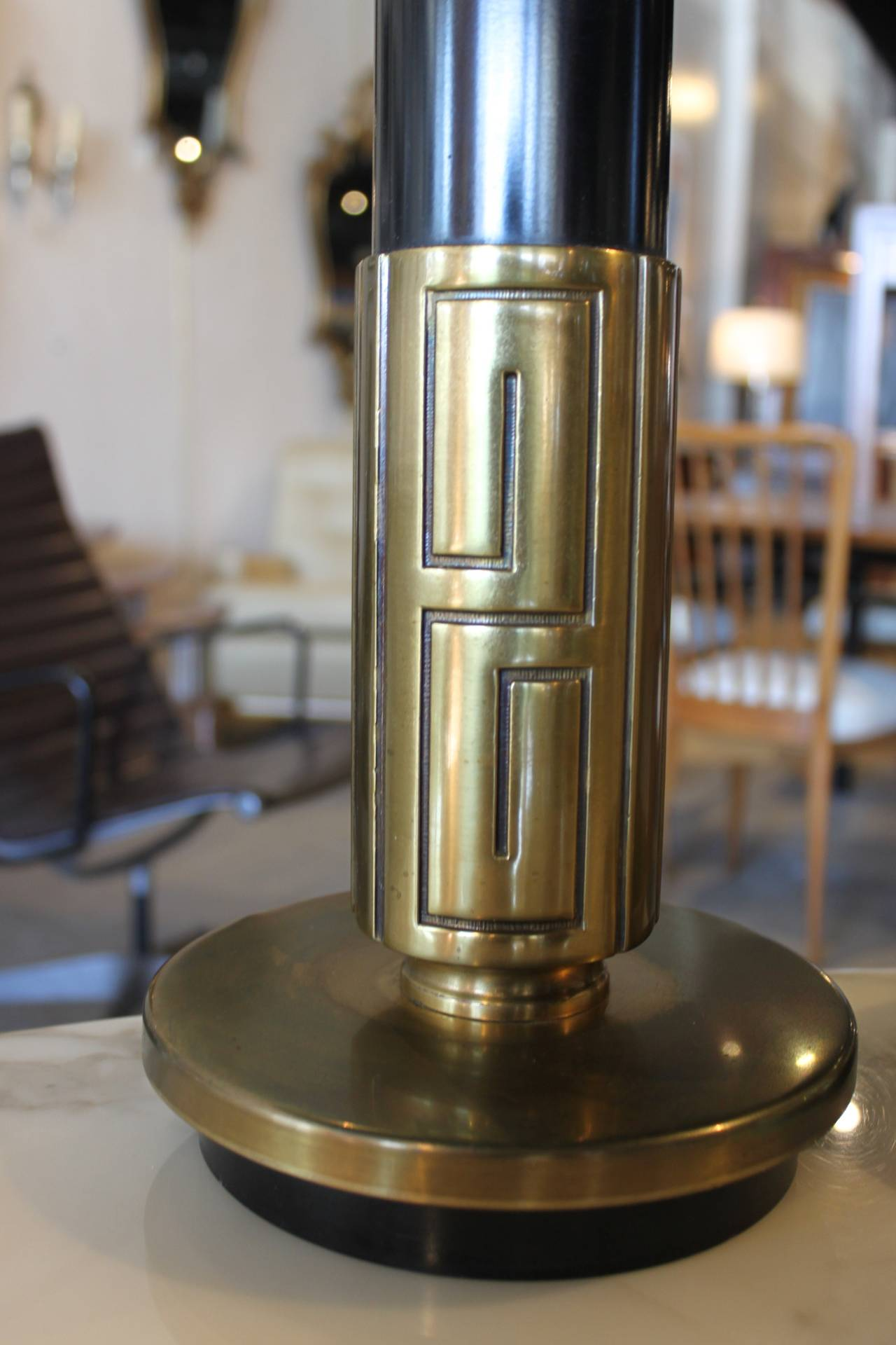 Pair of Mid-Century Modern Brass Lamps with Greek Key Motif 3