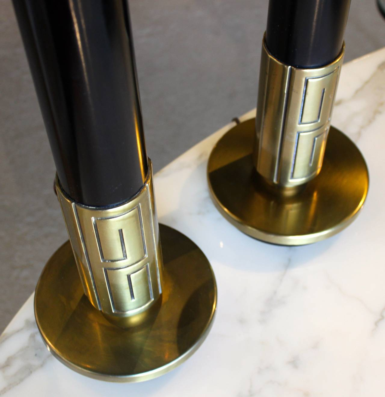 Pair of Mid-Century Modern Brass Lamps with Greek Key Motif 4