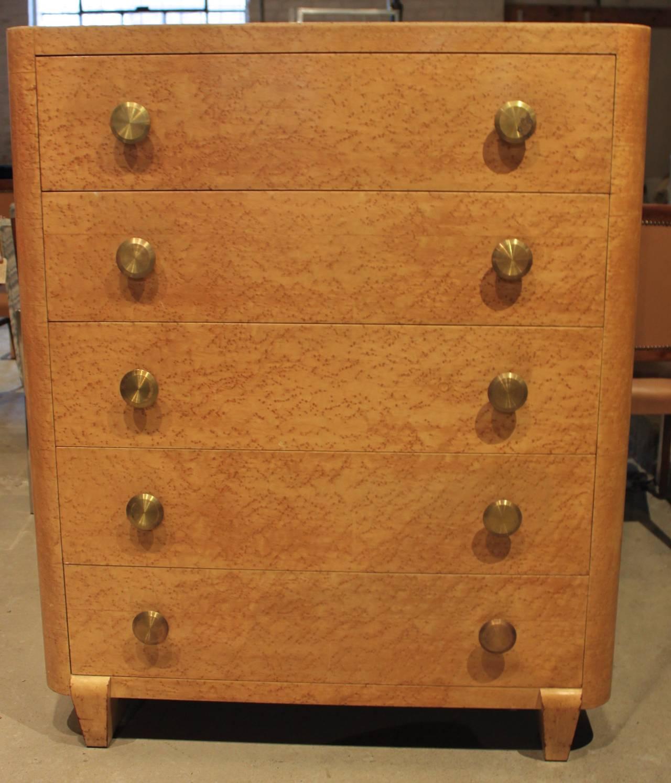 Art Deco Style Bird 39 S Eye Maple Five Drawer Tall Dresser At 1stdibs