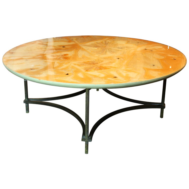 Low Metal And Glass Coffee Table: Mid Century Resin And Metal Low Table At 1stdibs