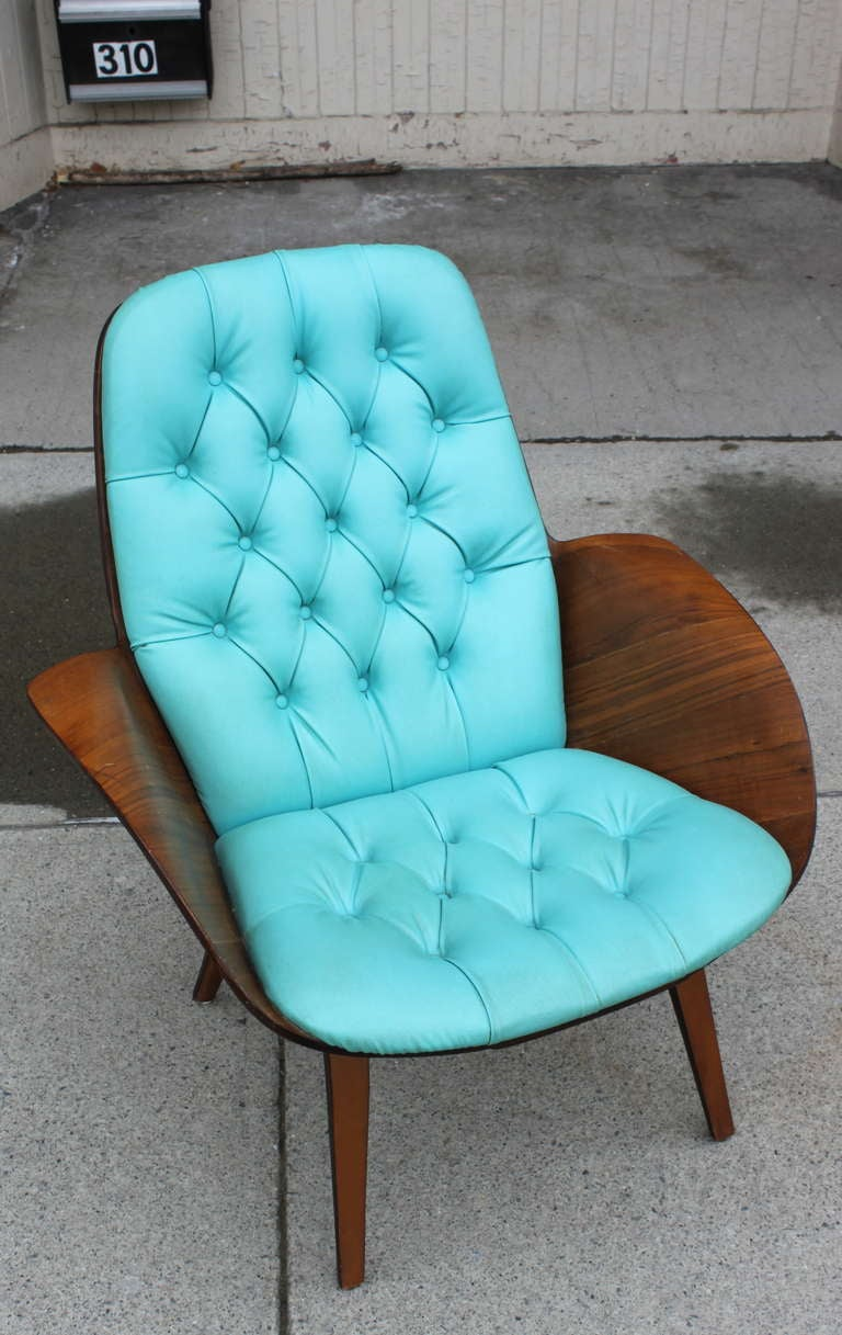 Vintage Plycraft Armchair With Tufted Turquoise Naugahyde