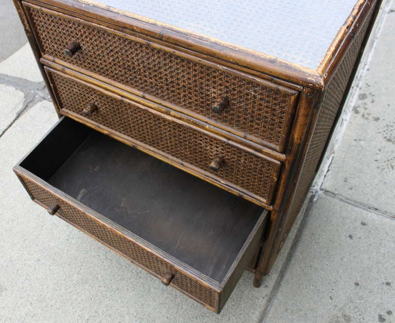 Asian style cane rattan chest of drawers dresser at stdibs