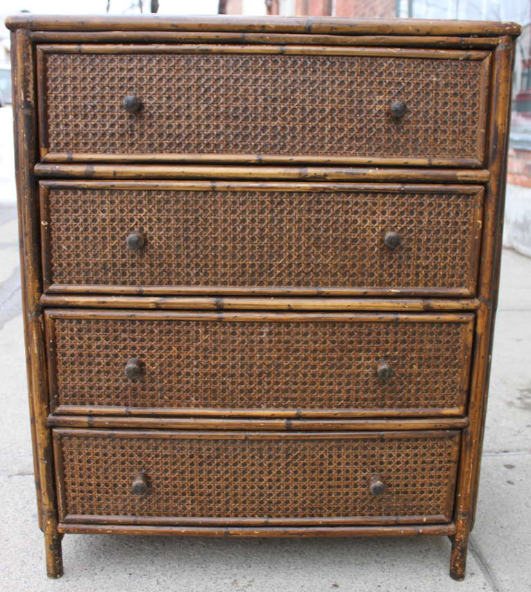 asian style cane rattan chest of drawers dresser at 1stdibs. Black Bedroom Furniture Sets. Home Design Ideas