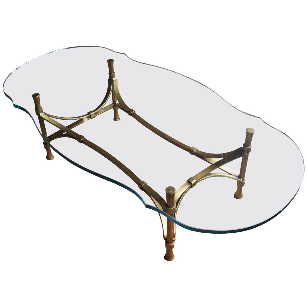 Decorator Gilt Wrought Iron Coffee Table With Cut And Rounded Glass At 1stdibs