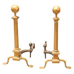 Large Federal Style Brass Andirons