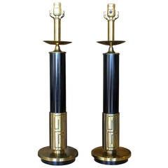 Pair of Mid-Century Modern Brass Lamps with Greek Key Motif