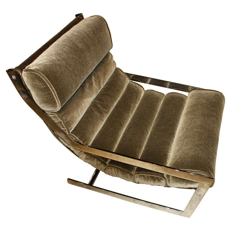 Milo Baughman Low Mohair Lounge Chair at 1stdibs