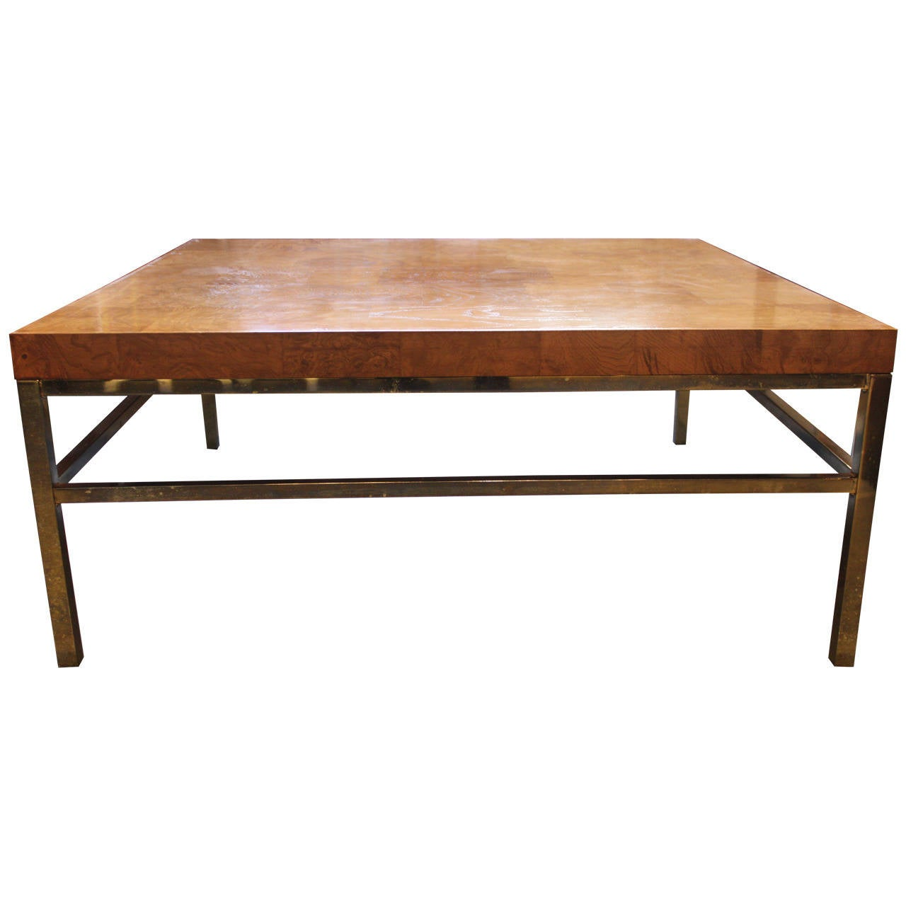 Burl wood coffee table with brass base at 1stdibs Bases for coffee tables