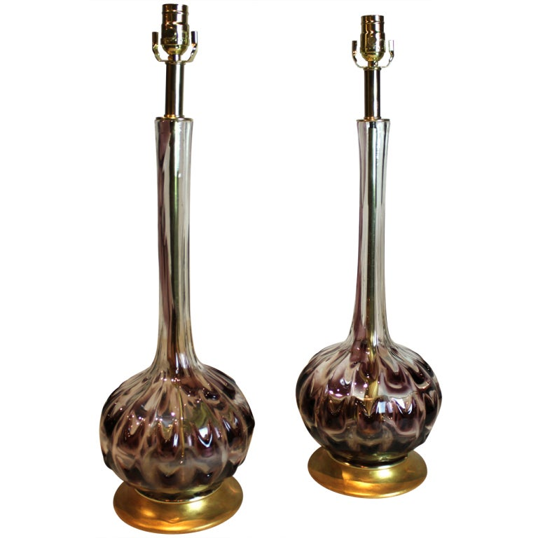 this pair of italian blown glass table lamps is no longer available. Black Bedroom Furniture Sets. Home Design Ideas