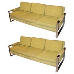 Pair of Milo Baughman Style Sofas