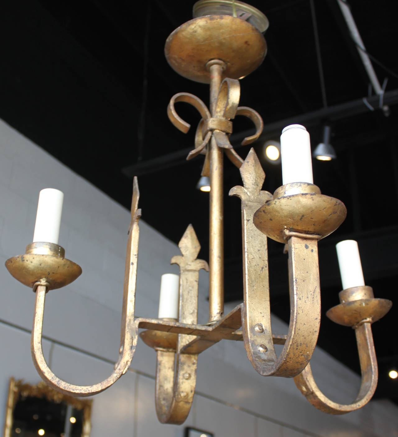 Vintage Gilt Iron Four-Arm Chandelier 2