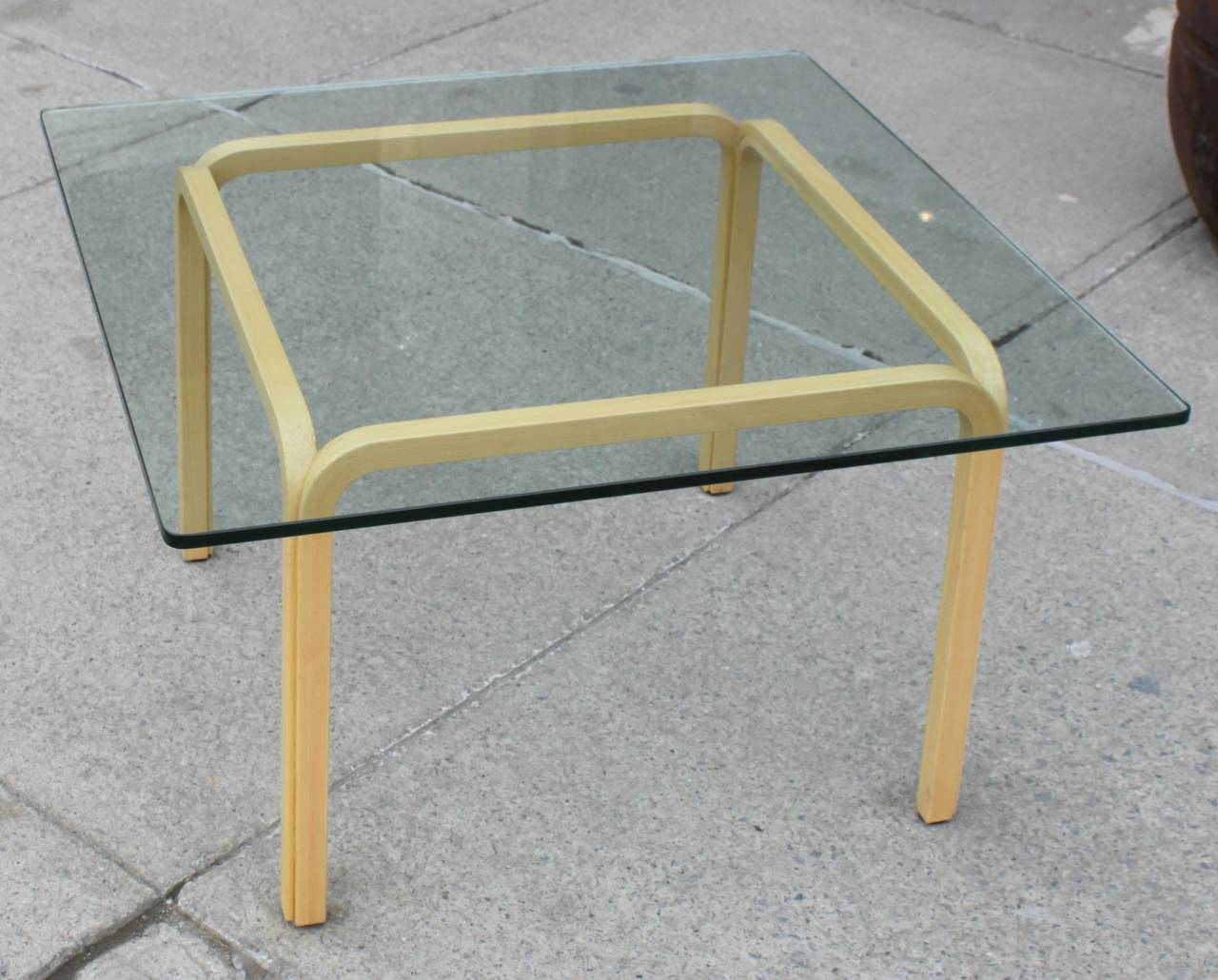 Bentwood Base Glasstop Coffee Table At 1stdibs