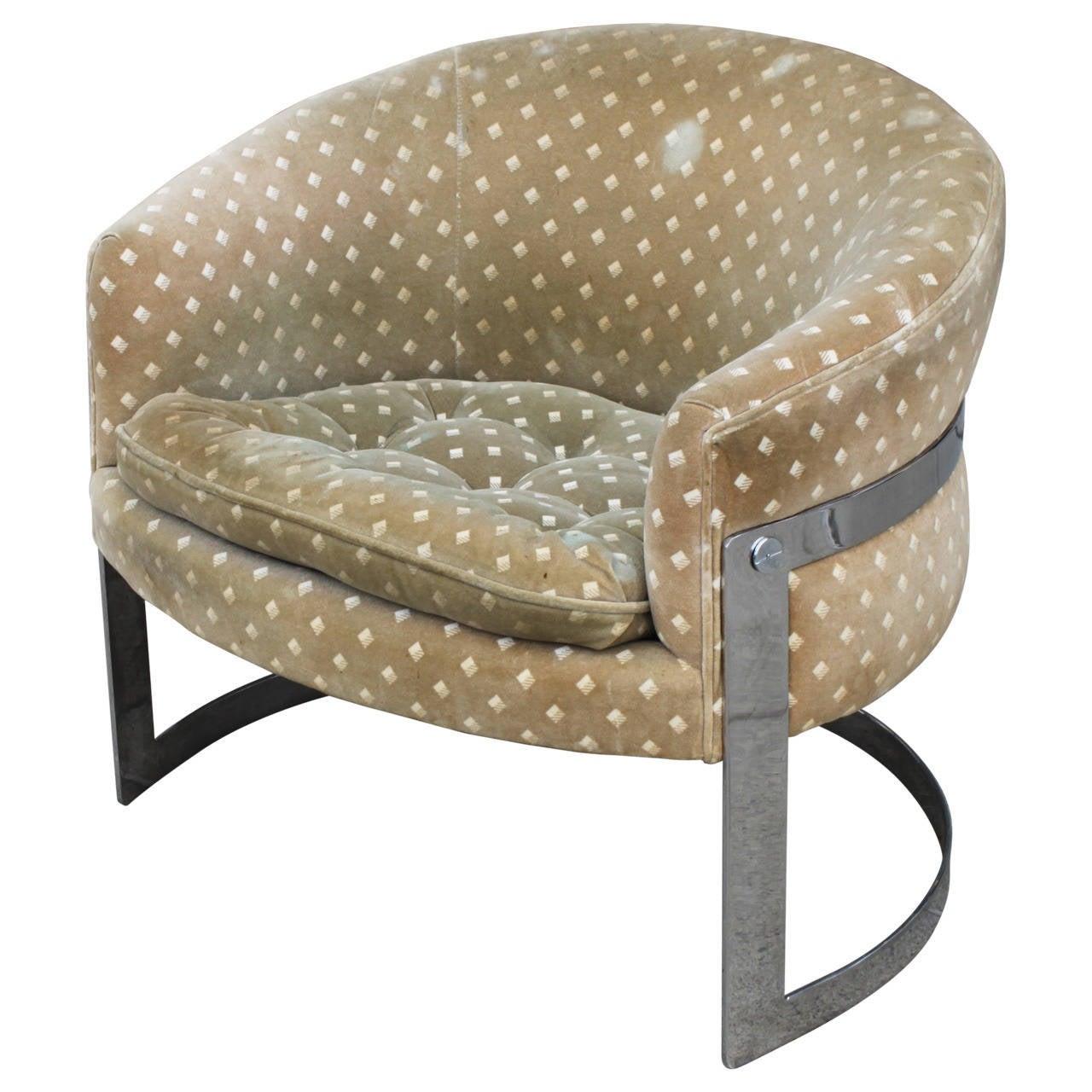 Milo baughman chrome barrel lounge chair at 1stdibs