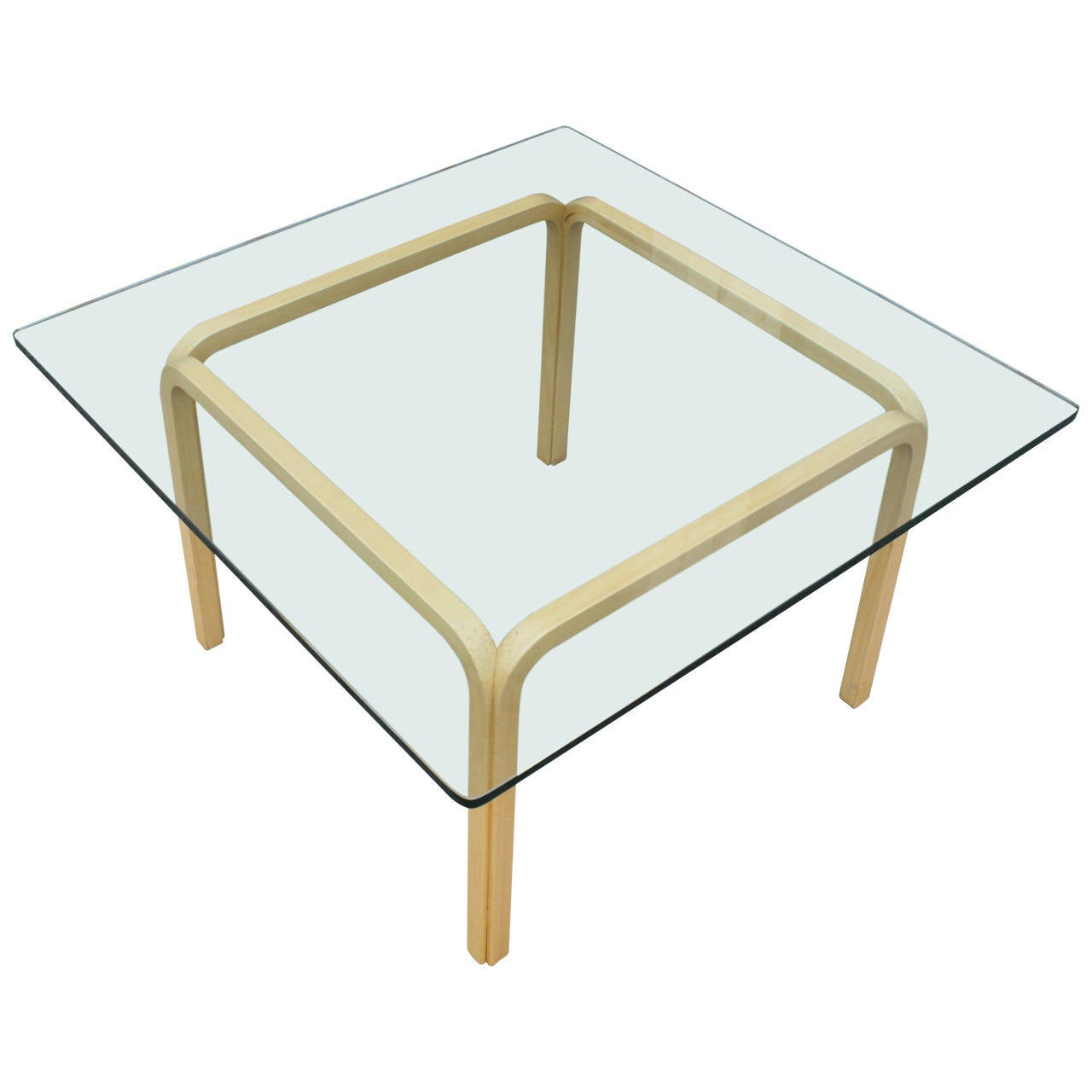 Bentwood Base Glass Top Coffee Table At 1stdibs