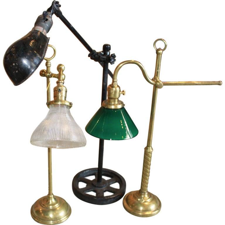 set of three adjustable table lamps at 1stdibs. Black Bedroom Furniture Sets. Home Design Ideas