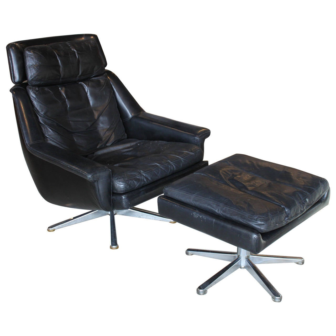 Danish Leather Lounge Chair And Ottoman By ESA For Sale