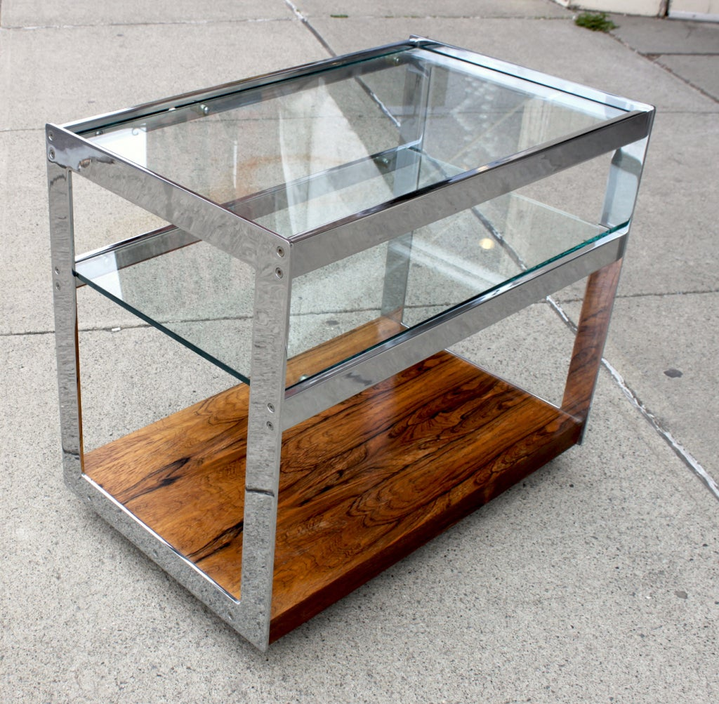 Merrow Associates Chrome And Rosewood Drinks Trolley 2