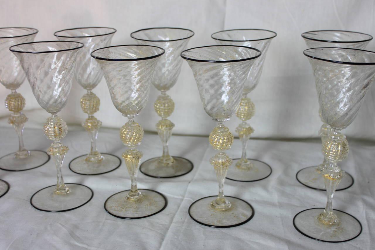 Antique Venetian Glass Medium Wine Glasses Set Of Ten At