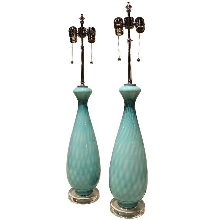 Elegant Pair Of Aqua Blue Italian Art Glass Table Lamps 1