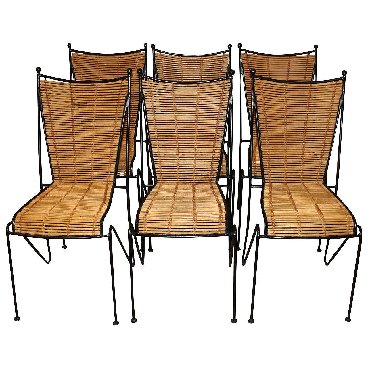 Iron Dining Chairs ~ Set of six wrought iron and bamboo dining chairs
