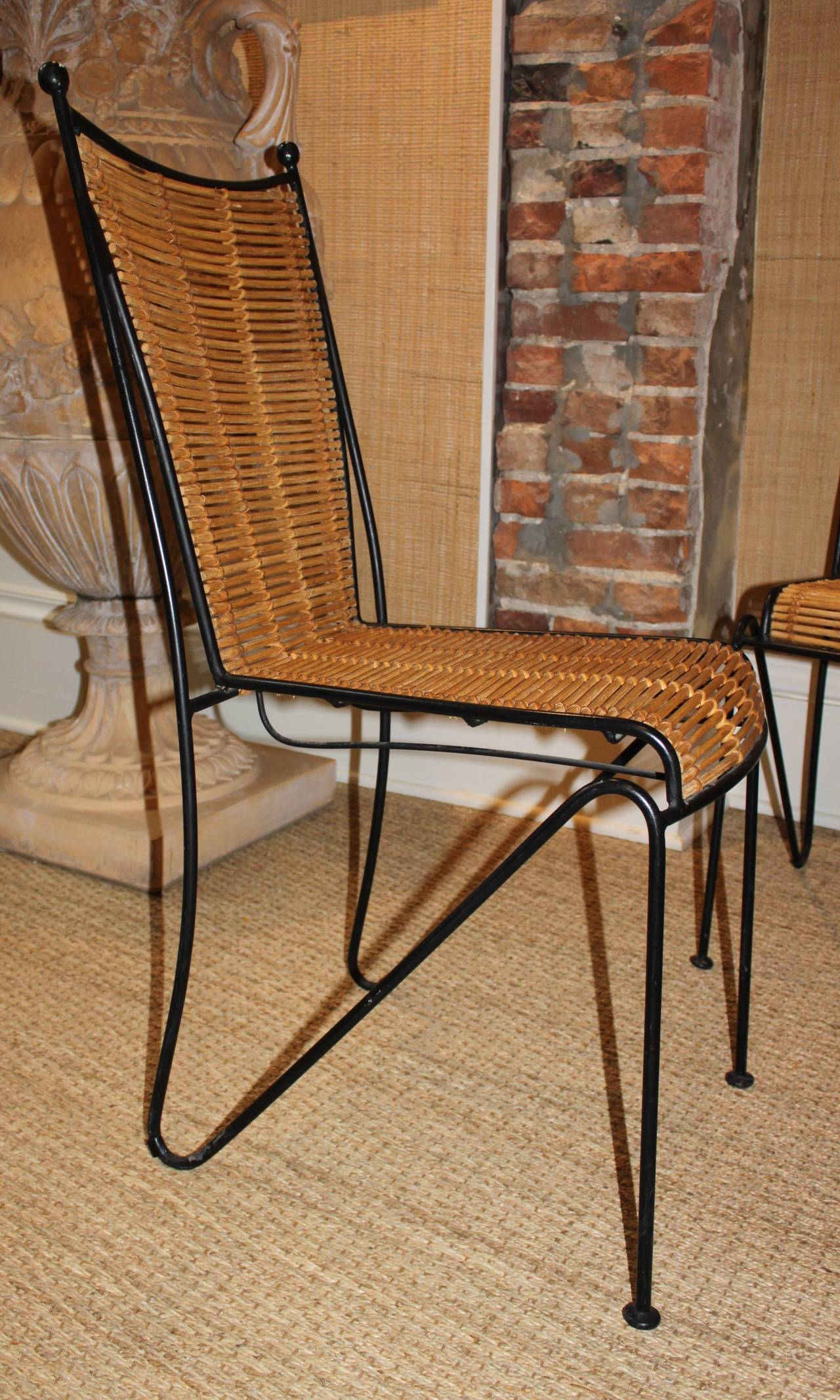 Set of Six Wrought Iron and Bamboo Dining Chairs Attributed to