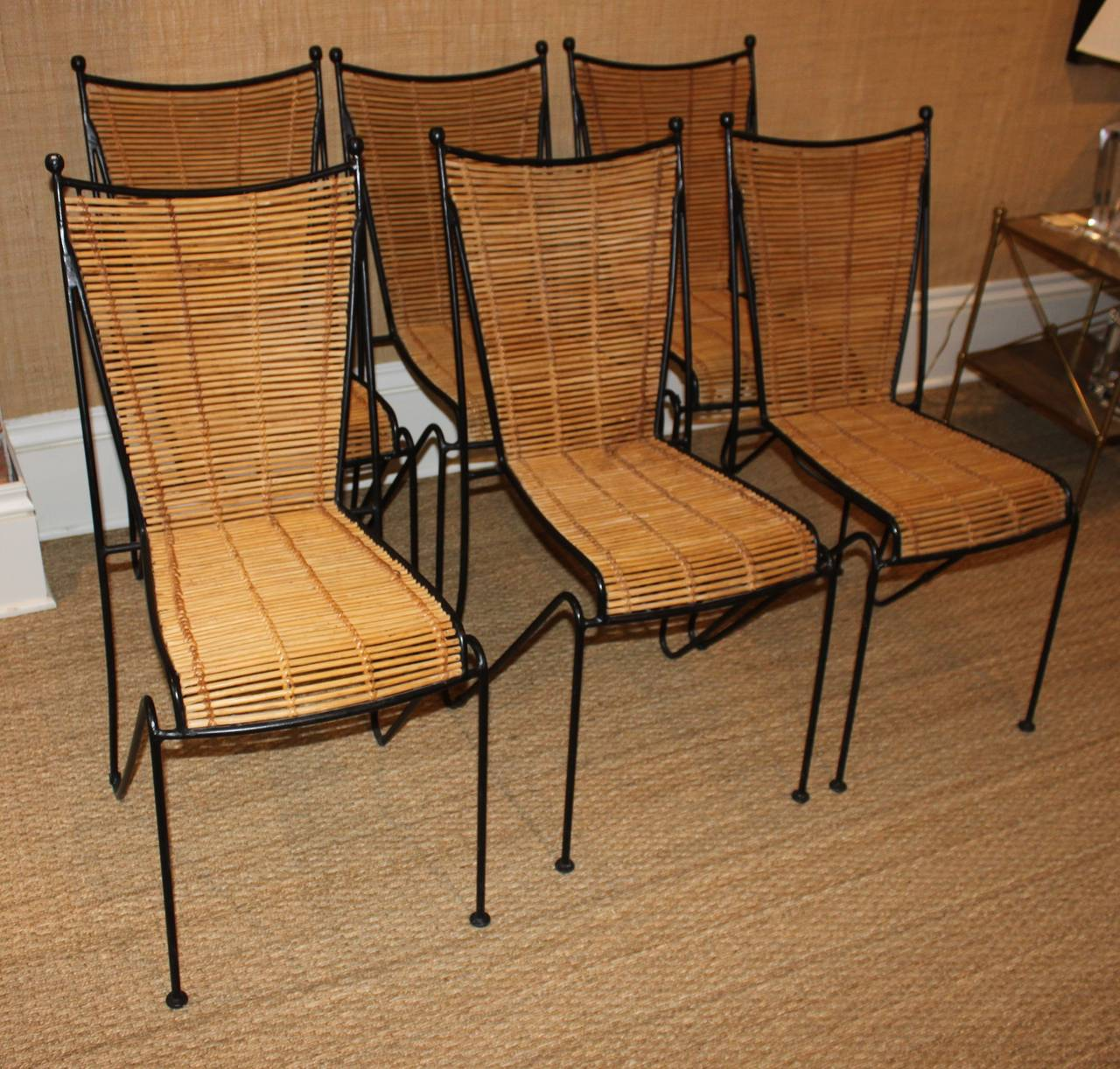 Set Of Six Wrought Iron And Bamboo Dining Chairs