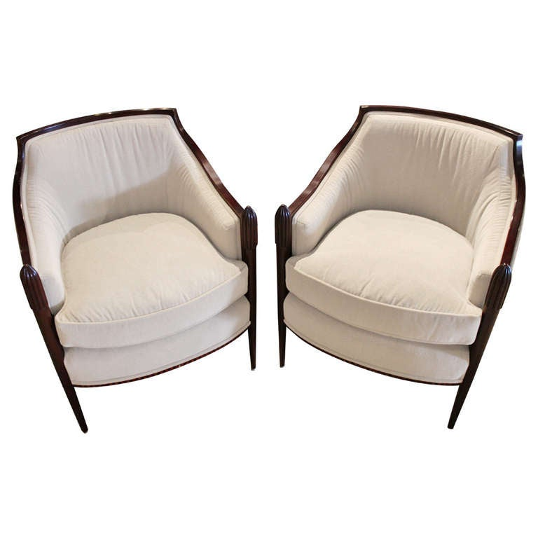 Pair Of Barbara Barry For Baker Deco Classic Lounge Chairs For Sale