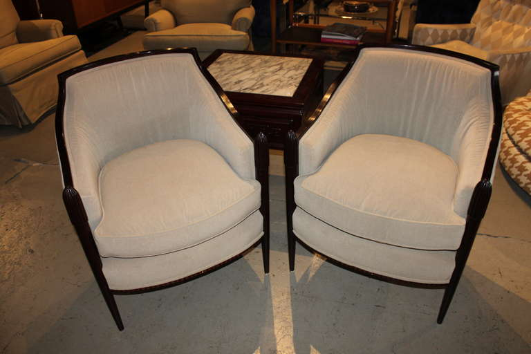 Gorgeous Pair Of Deco Classic Design Chairs. Baker Label.