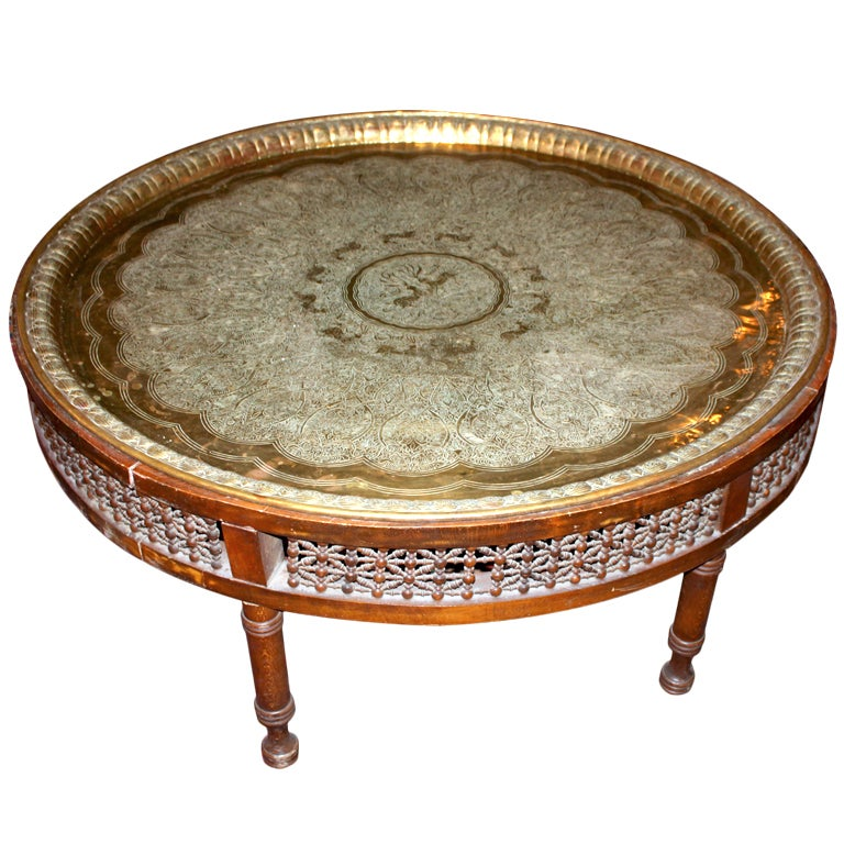 Extra Large Vintage Moroccan Tray Table At 1stdibs