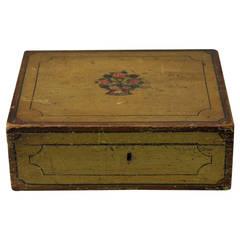 Mustard Yellow Painted Trinket Box, circa 1825, America