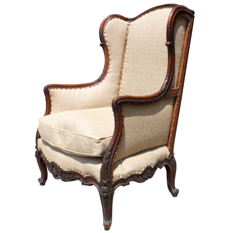 19th Century French Carved Wing Chair At 1stdibs