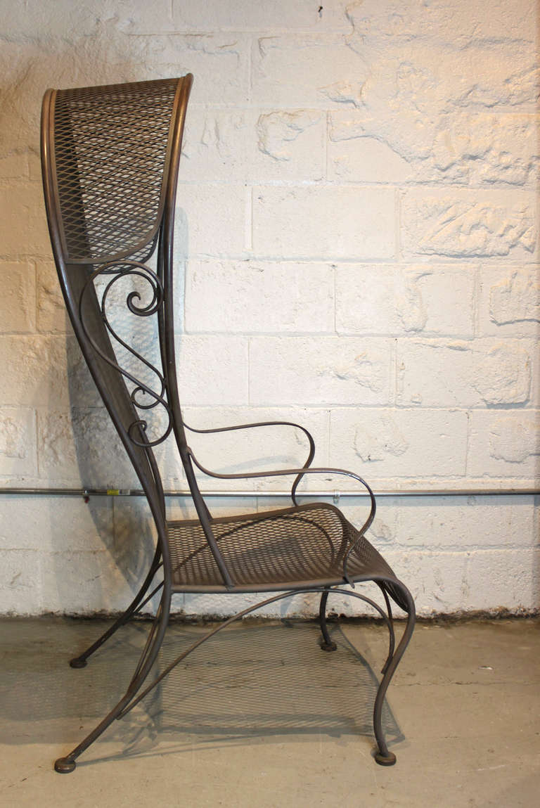 Pair of woodard hooded wrought iron arm chairs at stdibs
