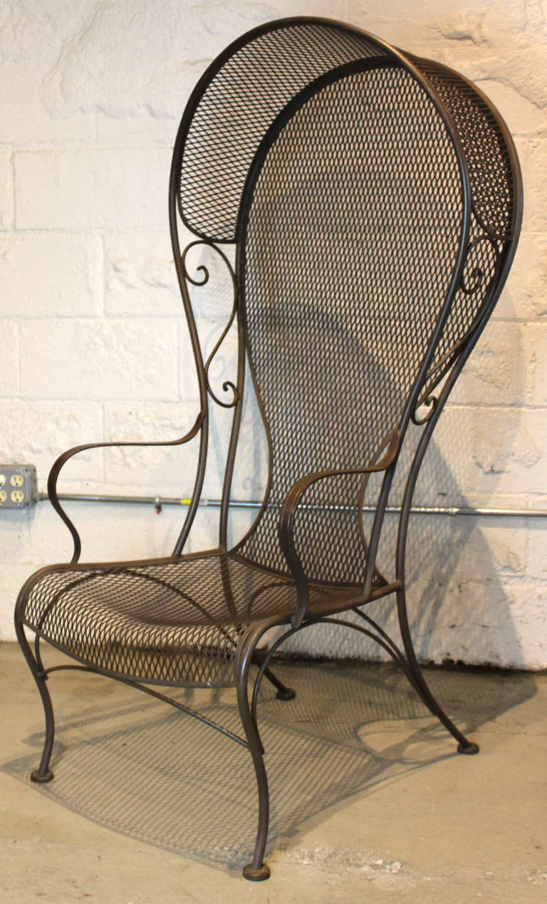 Wrought Iron Arm Chairs ~ Pair of woodard hooded wrought iron arm chairs at stdibs