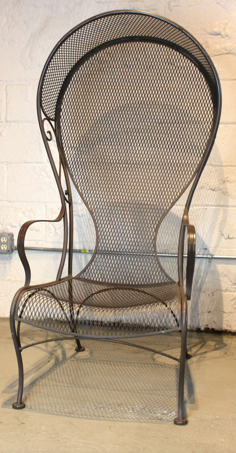 Pair of Woodard Hooded Wrought Iron Arm Chairs at 1stdibs