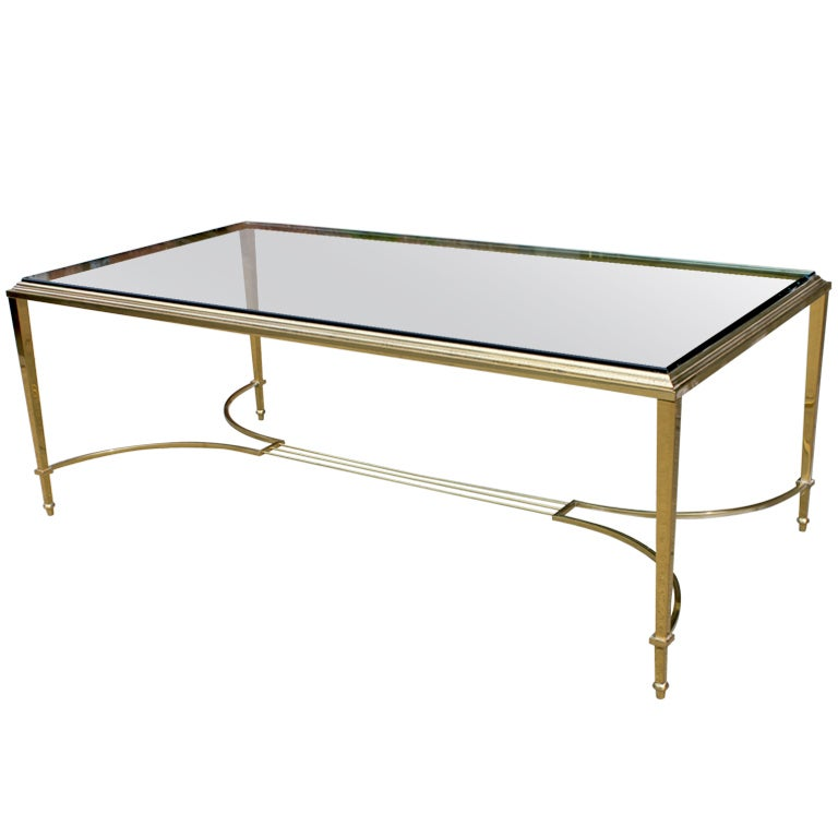 Vintage Glass And Brass Coffee Table At 1stdibs