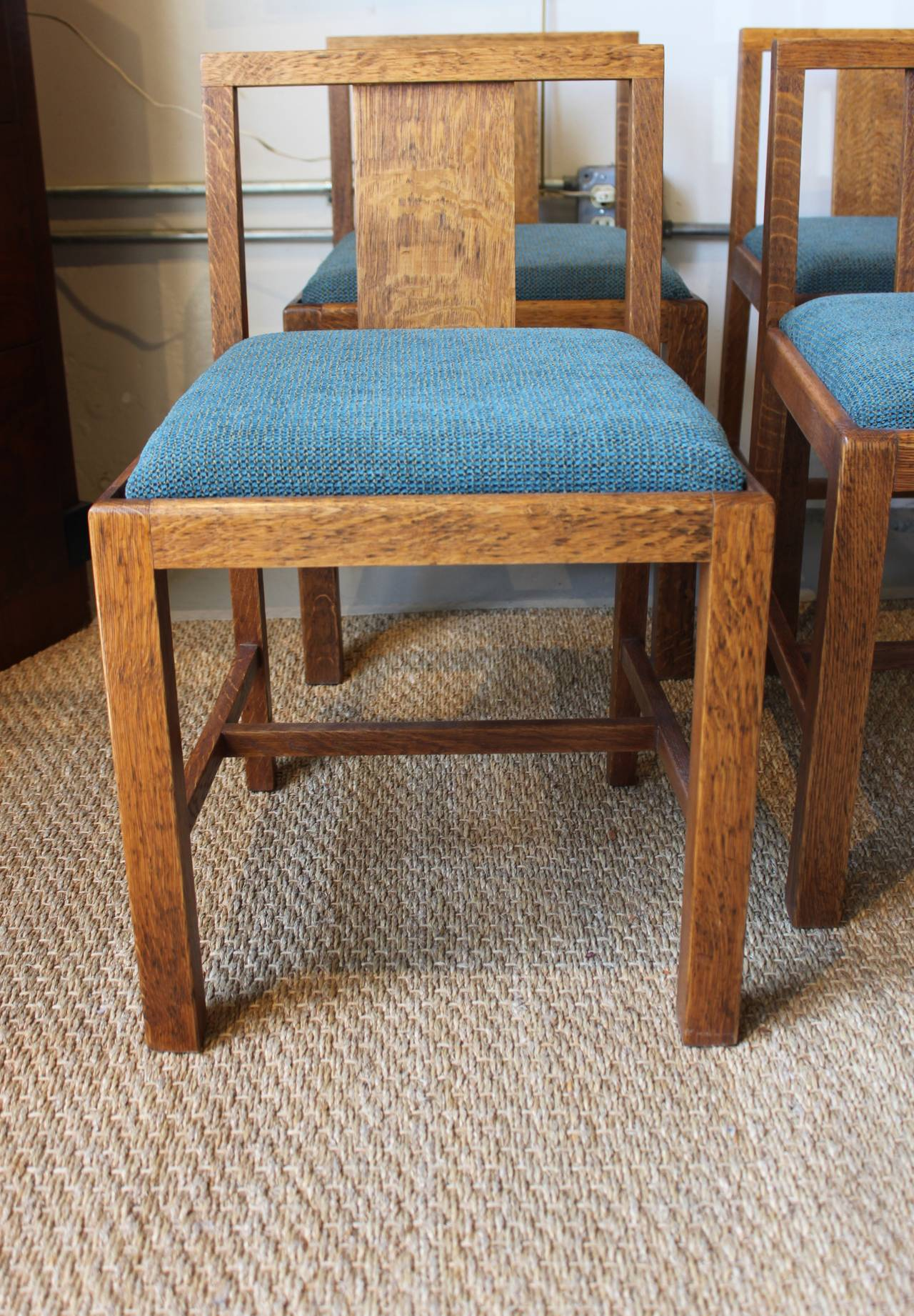 Early English Oak Chairs By Heals London Set Of Six
