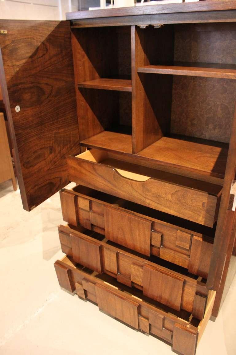 mid century modern brutalist tall chest of drawers or dresser at 1stdibs. Black Bedroom Furniture Sets. Home Design Ideas