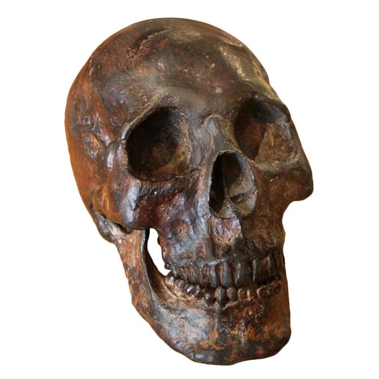 Bronze Skull Sculpture For Sale at 1stdibs