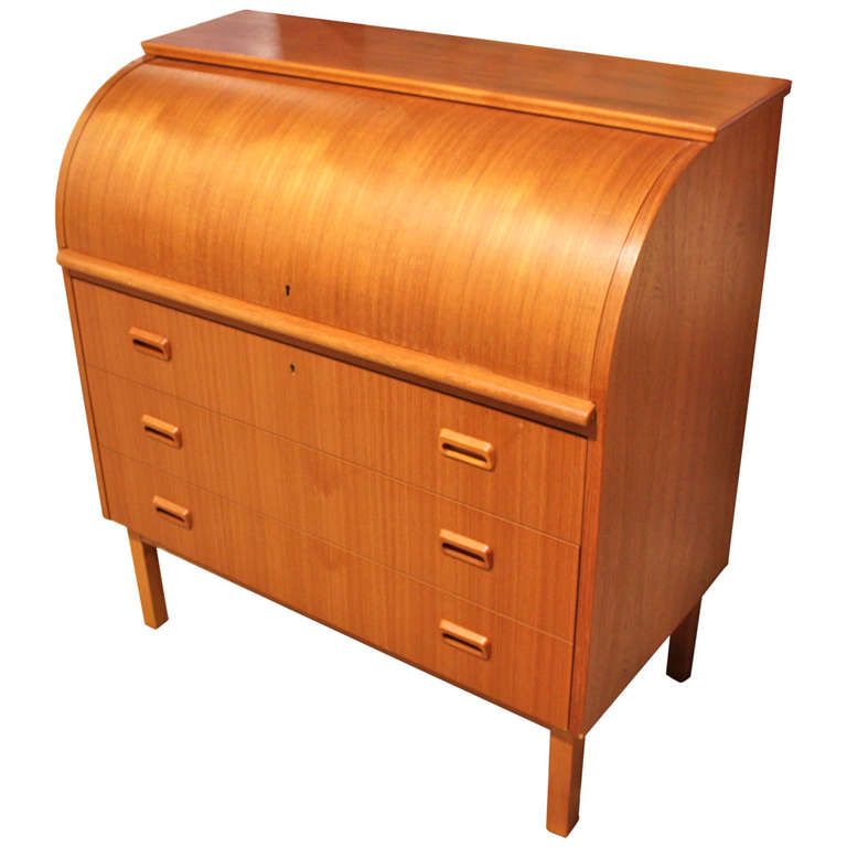 Danish Modern Teak Roll Top Desk At 1stdibs