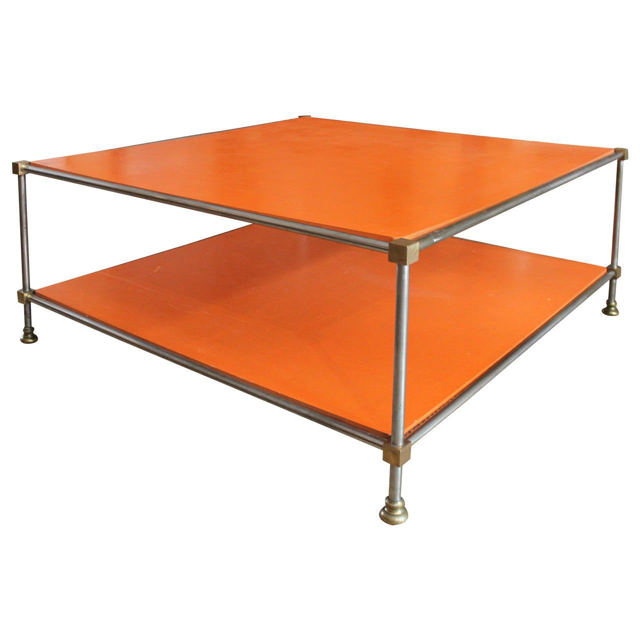 Bronze and chrome plated orange lacquered coffee table for Orange coffee table