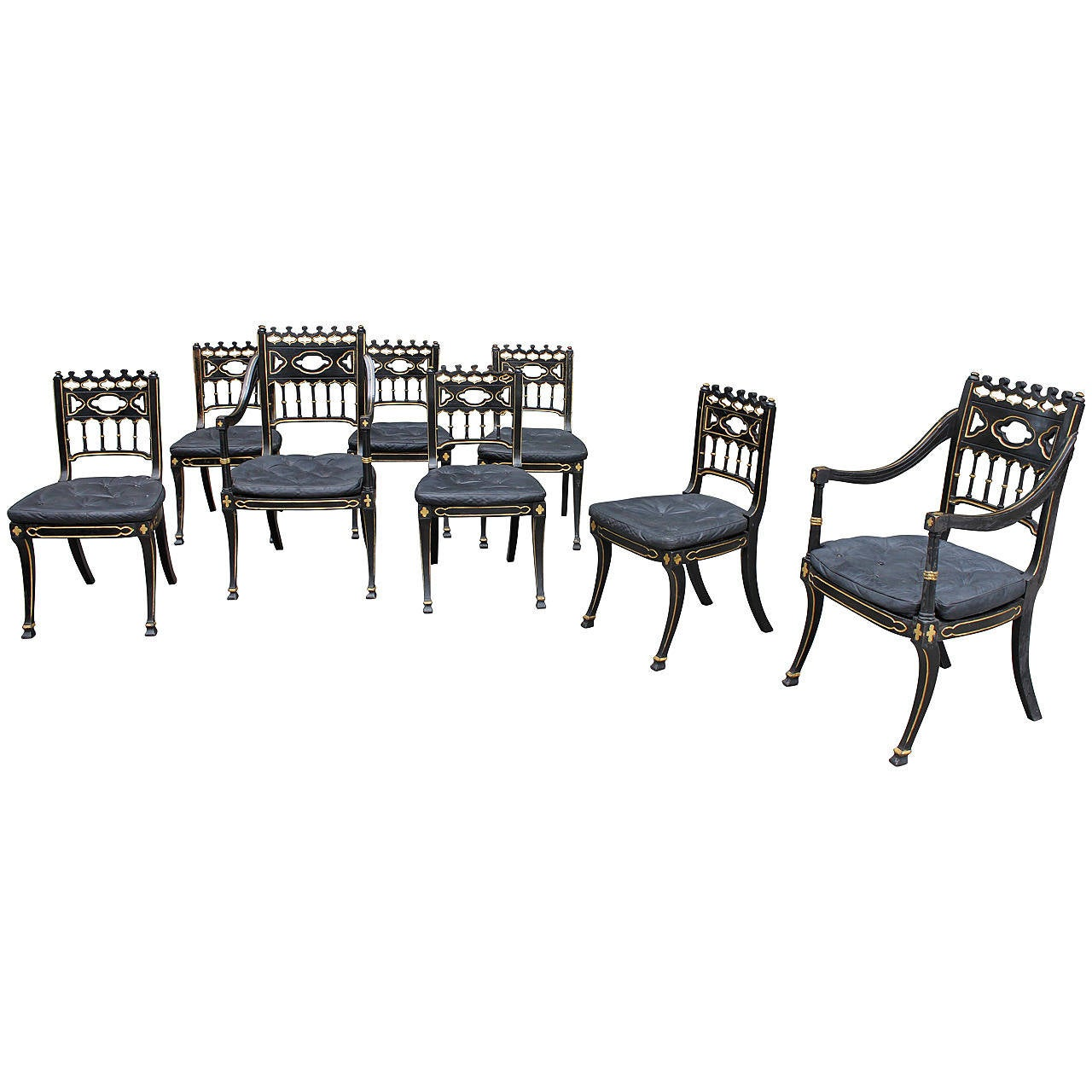 Gothic style regency dining chairs set of eight for sale for 8 dining room chairs
