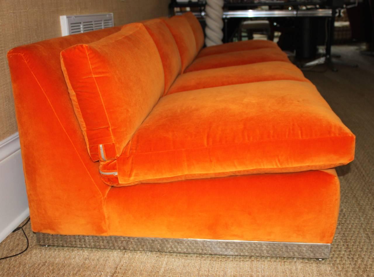 Milo Baughman Orange Velvet Sofa At 1stdibs