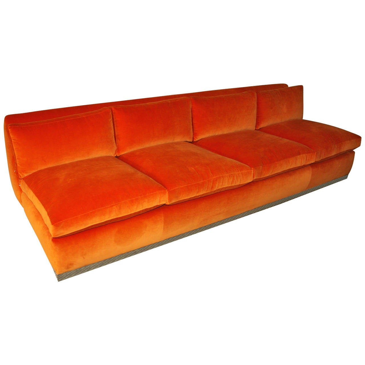 milo baughman orange velvet sofa at 1stdibs. Black Bedroom Furniture Sets. Home Design Ideas