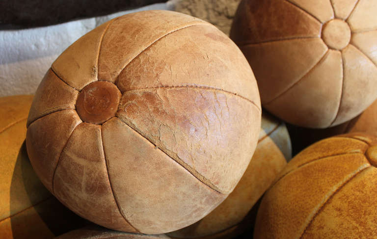 Collection of Leather Medicine Balls For Sale 2