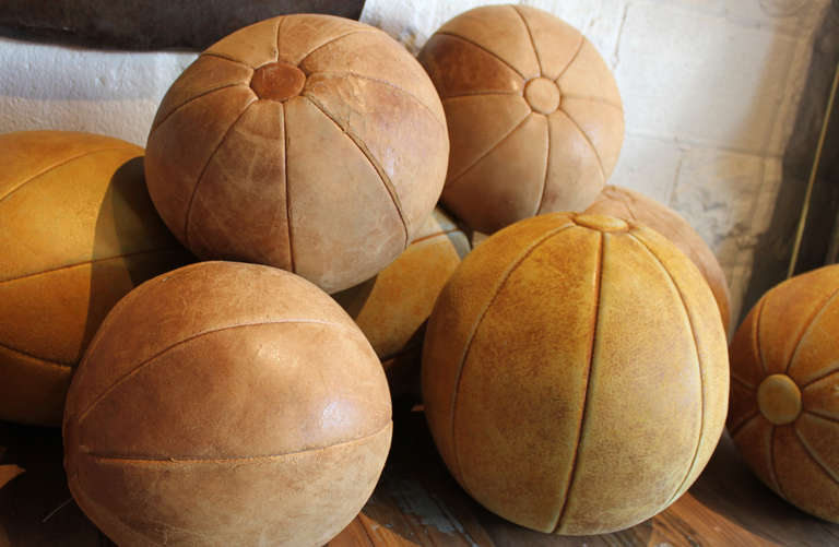 Mid-20th Century Collection of Leather Medicine Balls For Sale