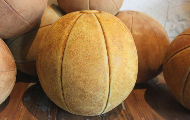 Collection of Leather Medicine Balls For Sale 1